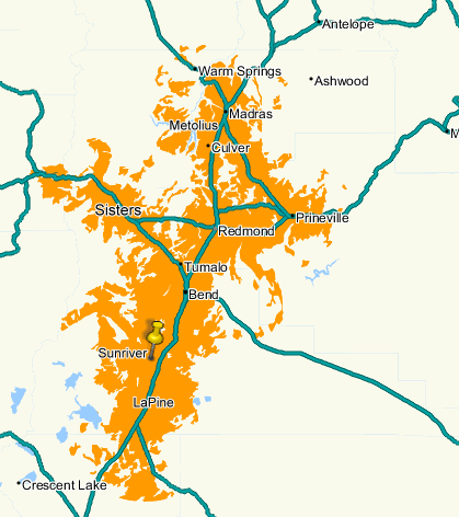 Mobile broadband coverage map for Bend and all of Central Oregon.